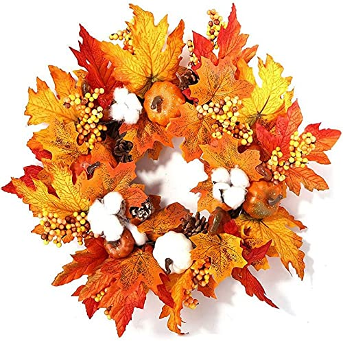 ZJDM Fall Wreath Autumn Wreath Supplies with LED Hanging Garland, Pumpkin,Maple Leaves And Artificial Berries For Autumn Halloween Thanksgiving Day