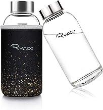 RYACO Borosilicaat kleine glazen waterfles 360ml BPA-vrije lekbestendig draagbaar ideaal voor school thuiskantoor reizen s...