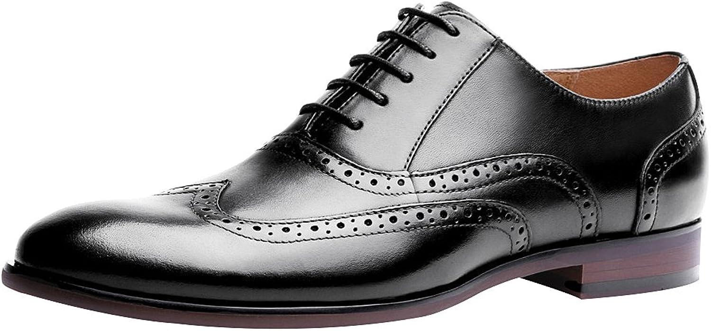 Jamron Men's Classic Genuine Leather Brogue Oxfords Elegant Formal Dress shoes Big Size