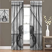 Western Shading Insulated Curtain Vintage Acoustic Instrument Guitar Hanged on Old Wooden Door Fences Country Ranch Soundproof Shade Curtain 52