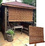 JXQ Persianas de Rodillo de bambú Impermeable, Fuera del 60% Blackout Persianas de privacidad de Estilo japonés con Gancho (Size : 110 x 155 cm)