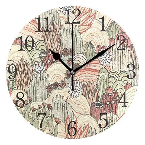 Mnsruu Cactus Suculents - Reloj de pared redondo con diseño floral, silencioso, pintura al óleo para dormitorio, sala de estar, oficina, escuela, decoración del hogar
