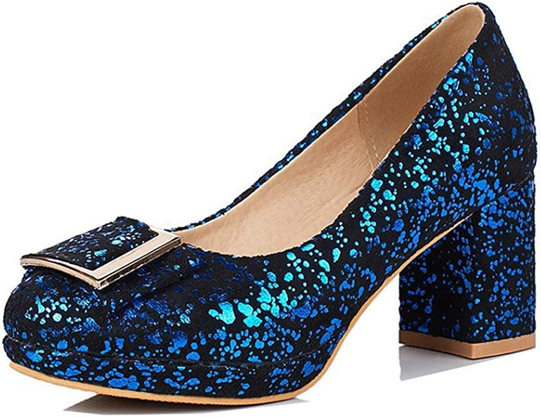 Unm Women's Elegant Wear to Work Office Dressy Round Toe Platform Slip On Medium Block Heel Platform Pumps shoes