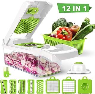 Ksera Picador de verduras, Picador de comida Cortador Rebanadora, Juego de 7 cuchillas intercambiables con contenedor de alimentos para vegetales, frutas, ensaladas, etc(Blanco)