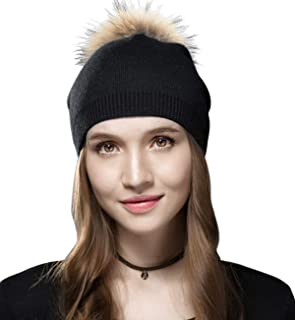 Sumolux Women Beanie Caps Knit Wool Winter Fur Pom Pom Hat Ski Hats Girls Classic Solid Color Hats