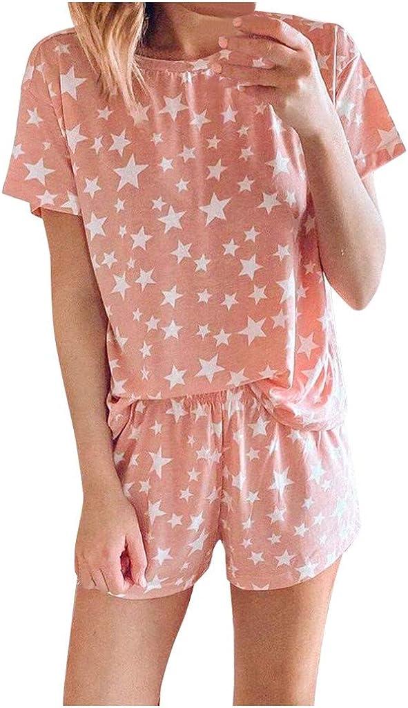 Womens Pajama Set Night Lounge Top Short Short Sleeve Sleepwear Nightgowns Nightshirts Nightwear Pj Sets