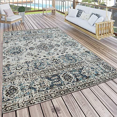 Paco Home In- & Outdoor Teppich Balkon Terrasse Küchenteppich Gartenteppich Modern, Grösse:120x170 cm, Farbe:Grau