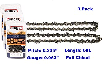 18 Inch 0.325'' Pitch 0.063'' Gauge Full Chisel Chainsaw Chain 68 Links (3PCS)