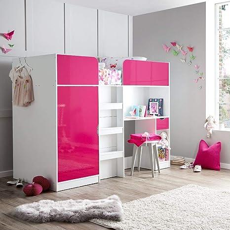 Happy Beds Paddington Cabin Bed Storage Bunk Bed Cabinet Desk 3ft X 7ft Single Amazon De Home Kitchen