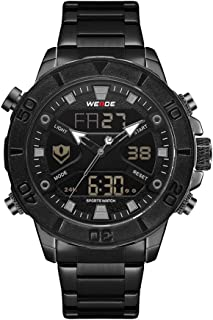 WH8503 Dual Display Two Movement Digital Quartz Men Watch 3ATM Waterproof Business Sports Luminous Watch Dual Time Zone Alarm Week Month Male Wristwatch with Stainless Steel Strap Band