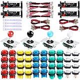 Hikig Kit de 4 jugadores de Arcade LED, 40 botones LED Arcade y 4 joysticks y 4 codificadores USB con monedas y reproductores pegatinas para PC, MAME, PS3, Raspberry Pi