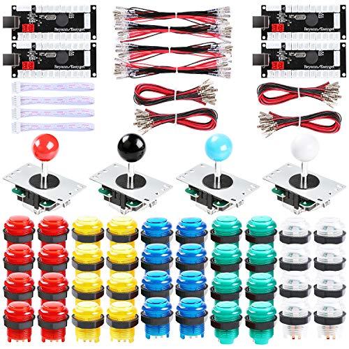 Hikig Kit de 4 jugadores de Arcade LED, 40 botones LED Arcad