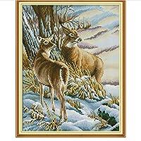 YGACJ ダイヤモンド絵画動物セット鹿動物刺繡クロスステッチラインストーン写真アートクラフト家の壁の装飾35x45cmフレームなし