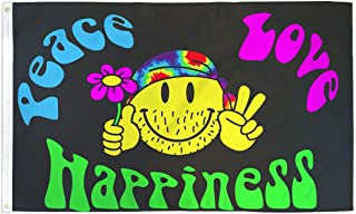 Peace Love and Happiness Flag Hippie Party Banner Sign Pennant New 3x5