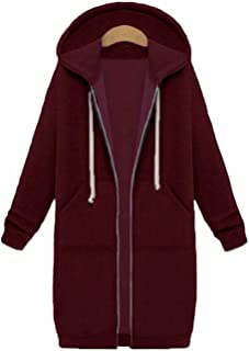 Women's Casual Loose Zip up Long Hoodies Sweatshirt Outerwear Jacket Tunic Coat with Pockets