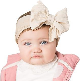 1d3c09989b1bc yuyuanDO Premium Bandeau Cheveux Bébé Fille Baptême Noeux Migon Naissance  Cérémonie Fête Anniversaire Bandeaux Fille Coton