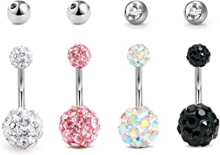 LAURITAMI Piercing Ombelico Donna Acciaio Chirurgico 10mm 14G Barbell Curva Bottone Cristal Piedra Perla CZ Bilanciere Gio...