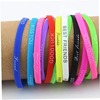 Hotaden Lotti 20pcs Mix di Colori Lettere Stampa Gioielli Braccialetto del Silicone Wristband 5 Millimetri di Gomma Elasti...