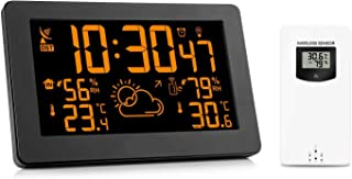 Protmex PT3378A Color Display Wireless Weather Station, Indoor Outdoor Digital Weather Thermometer Barometer with 8 Colors Changing, Temperature, Humidity Monitor, Alarm Clock, Remote Sensor