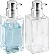 mDesign Modern Square Glass Refillable Foaming Hand Soap Dispenser Pump Bottle for Bathroom Vanities or Kitchen Sink, Countertops - 2 Pack - Clear/Chrome