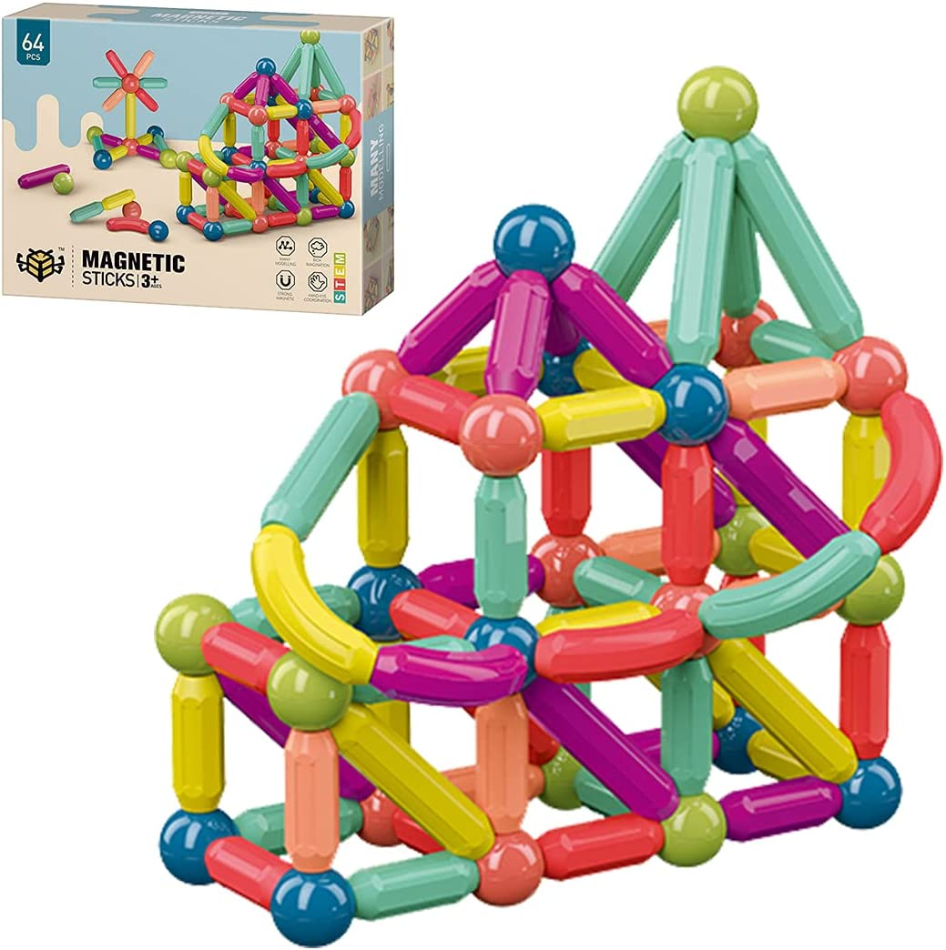 64PCS Charlotte Mall Magnetic Balls and Rods Sticks Set Vibrant Blocks Building Portland Mall