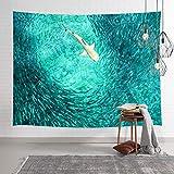NYMB Safari Tapiz decorativo para colgar en la pared, diseño de tiburón blanco cazando peces en el océano azul, tapiz para pared, decoración de pared para recámara, sala de estar, recámara de...