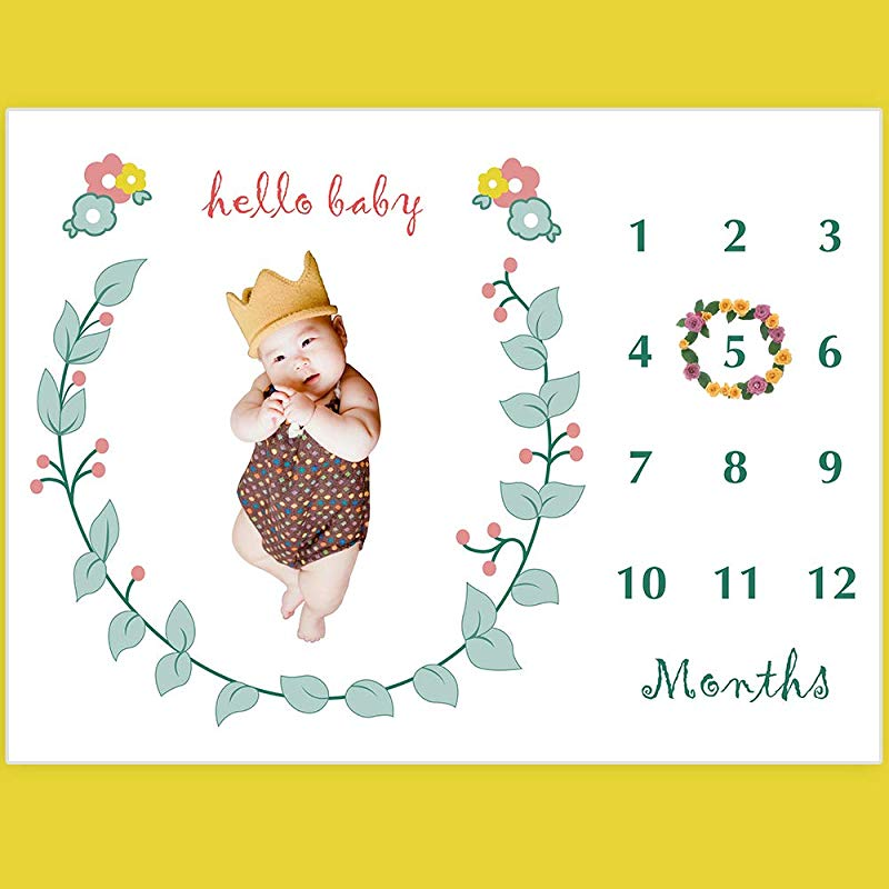 Baby Monthly Milestone Blanket Floral Plush Fleece Baby Photography Backdrop Memory Blanket For Newborns Large New Moms Baby Shower Gift Set For Boys And Girl