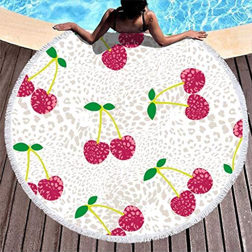 RQPPY Toalla de playa redonda con borla y textura de cereza, microfibra, para playa, yoga, picnic, playa, decoración de tiempo libre, toalla de baño, bufanda de 150 cm