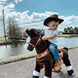 PonyCycle Official Classic U Series Ride on Horse Toy Plush Walking Animal Chocolate Brown Horse Small Size for Age 3-5 U321