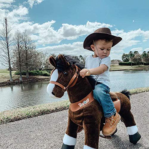 PonyCycle Official Classic U Series Ride on Horse Toy Plush Walking Animal Chocolate Brown Horse Medium Size for Age 4-8 U421