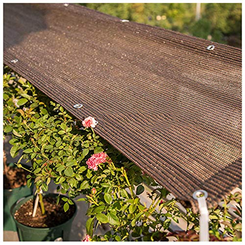 YLL Filet D'ombrage Cryptage Abri Voiture UV Pergola Serre Jardin Grangé Voile Rectangulaire Toile 6 Broches, Disponible dans Une Variété De Tailles, Marron,1x1m(3 * 3ft)