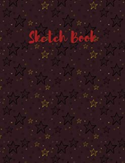 """Sketch Book: with Gold and Black Stars on a Reddish Brown Background on this Blank, Large 8.5""""x 11"""" 100 page Personal Arti..."""