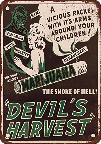 VEHFA 1942 Marijuana Devil's Harvest Vintage Look Reproduction Metal Tin Sign 8X12 Inches