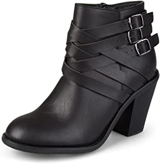 Journee Collection Women's Multi Strap Ankle Boots Black, 7.5 Wide Width US