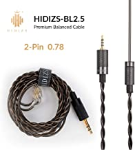 HIDIZS Detachable Balanced Earphone Cable, 2.5mm Plug Replacement Headphone Audio Cord Headphone UpgradedCable-2 Pin 0.78mm IEM Cord for for MS4 MS1 KZ ES4 ZSR ZST ZSR ED16 ZS10 TFZ TRN V20 V10 Earph