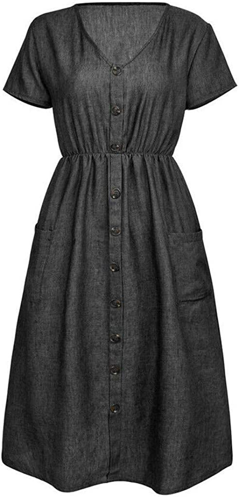 Denim Dress Forthery Womens Button Down Midi Dress Summer Loose Holiday Swing Dresses with Pocket