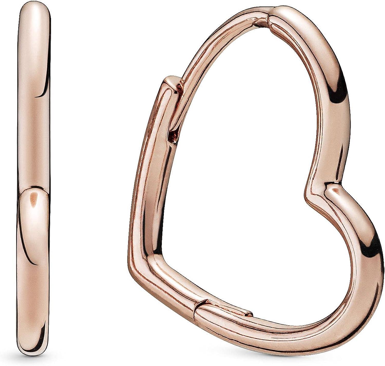 Pandora Jewelry Asymmetric Heart Hoop Pandora Rose Earrings