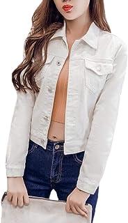 Women Washed Denim Jacket Button Down Denim Jean Jacket Coat