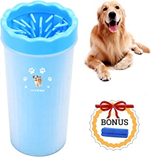 YITOOK Dog Paw Cleaner with Towel, Portable Dog Plunger Feet Washer Muddy Paw Cleaner Cup for Dogs Puppy Cats