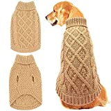 Mihachi Dog Sweater - Winter Coat Apparel Classic Cable Knit Clothes for Cold Winter,Beige,L