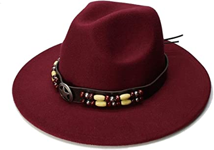 2019 Women Fedora Hat, Wide Flat Brim Wool Felt Fedora Hat with Ribbon Band Jazz Trilby Formal Top Hat Panama Cap Floppy Hat for Men Women (Color : Wine red, Size : 56-58CM)
