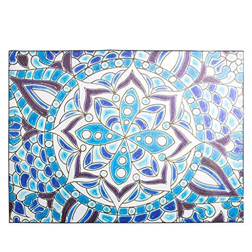 Tapis JXLBB de Salon Polyester Bleu de Salon Poilu Entrée à la Maison Canapé Table Basse Chambre Lit de Chevet Queue Couverture de Pas à Pas