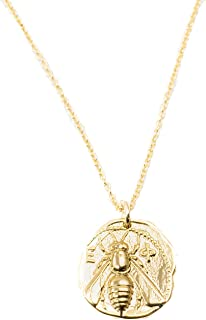 Gold Plated Artemis Bee Coin Pendant on 14k Gold Filled Chain Necklace - 16 inches Long Handmade Charm Necklace by Miller Mae Designs