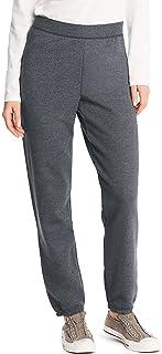سروال رياضي بأساور بتصميم مشدودة مصنوع من الصوف للنساء بخصر متوسط الارتفاع من هانس