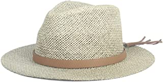 LiWen Zheng Sun Hat Raffia Straw Summer Women Men Travel Beach Hat Elegant Lady Fedora Wide Brim Panama Sunbonnet Sunhat Size 56-58CM
