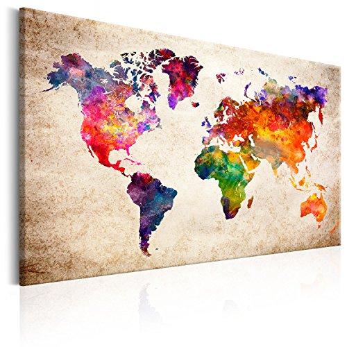 B&D XXL murando Handart Impression sur Toile intissee 90x60 cm 1 Piece Impression Encadree Tableaux pour la Mur Peinture Art Moderne Artistique Decoration Murale Carte du Monde k-B-0027-b-a