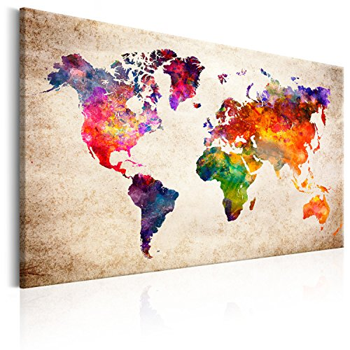 murando - Bilder 120x80 cm Vlies Leinwandbild 1 TLG Kunstdruck modern Wandbilder XXL Wanddekoration Design Wand Bild - Weltkarte Kontinente Welt Karte k-B-0027-b-a