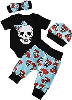 Sombrero Pantalones Guante Conjunto de beb/é de Halloween Yuemengxuan 4 Piezas de Traje de beb/é de Halloween con Estampado de Calavera Negro Mameluco de Manga Corta