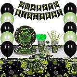 Innohero Video Game Party Supplies 124 piezas 16 invitados incluye Happy Birthday Banner mantel globos pajitas Cupcake Topper platos tazas servilletas tenedores cucharas