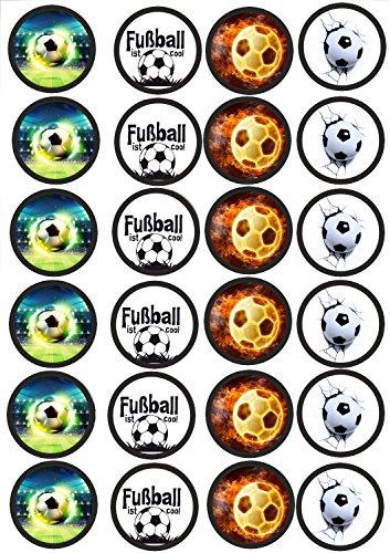 24 Muffin & Cupcake Aufleger Fondant Fussball C1